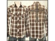 Fender Heavier Flannel Leather Cross Patch Western Style Men's Long Sleeve Button Up Dress Shirt in