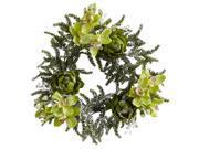 Nearly Natural 22 Iced Cymbidium & Artichoke Wreath