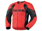 Icon Overlord Men's Leather On-Road Motorcycle Jacket - Red / X-Large