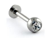"""Stainless Steel Externally Threaded Labret: 16g 5/16"""", Gem Ball: 2.5mm, Clear Gem"""