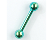 "PVD Stainless Steel Straight Barbell: 14g, 1/2"" long, Green, Balls: 4mm"