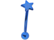 """PVD Stainless Steel Curved Barbell with Star: 16g, 3/8"""", Blue"""