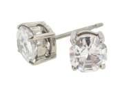 Pair of Stainless Steel Round CZ Standard Earrings: 20g 5mm