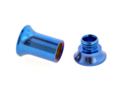 One PVD Stainless Steel Double Flared Threaded Flesh Tunnel: 6g, Blue (SOLD INDIVIDUALLY. ORDER TWO FOR A PAIR.)