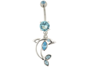 Gem Navel Barbell - Gemmed Fin Dolphin Dangle: 14g