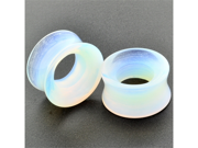 Pair of Opalite Stone Double Flared Eyelets: 1""