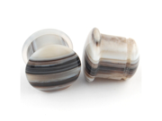 Pair of Black Tibetan Agate Single Flared Cabochon Front Plugs: 0g