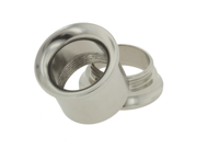 """One Stainless Steel Double Flared Threaded Flesh Tunnel: 7/16"""" (SOLD INDIVIDUALLY. ORDER TWO FOR A PAIR.)"""