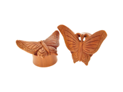 """Pair of Sabo Wood Autumn Butterfly Eyelets: 1"""""""