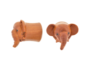 "Pair of Sabo Wood Pet Elephant Plugs: 7/16"""