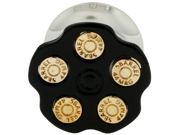 """One Stainless Steel Double Flared Black Spinning Bullet Chamber Plug: 1/2"""" (SOLD INDIVIDUALLY. ORDER TWO FOR A PAIR.)"""