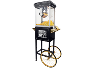 FunTime 8oz Black Popcorn Popper Machine Maker Cart Vintage Style- FT862CBG
