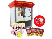 FunTime 8oz Tabletop Theater Style Popcorn Popper Machine + Popcorn Starter Pack