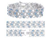 FineDiamonds9 B2307BTBR 6 CT Swiss Blue Topaz Bracelet with Rhodium Plating