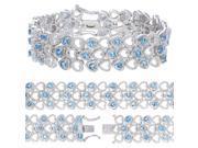 FineDiamonds9 B2307BTBR 6 CT Swiss Blue Topaz Bracelet with Rhodium Plating