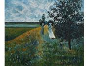 Monet Paintings: Walking Near Argenteuil - Hand Painted Canvas Art