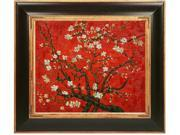 Van Gogh Paintings: Branches of an Almond Tree in Blossom (Interpretation in Red) with Opulent Frame - Dark Stained Wood with Gold Trim - Hand Painted Framed Canvas Art