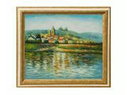 Monet Paintings: The Seine at Vetheuil with Tuscan Crackle Frame - Gold Finished Wood with White Crackle Accent - Hand Painted Framed Canvas Art