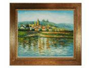 Monet Paintings: The Seine at Vetheuil with Vienna Wood Frame - Gold Leaf Finish - Hand Painted Framed Canvas Art