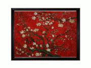Van Gogh Paintings: Branches of an Almond Tree in Blossom (Interpretation in Red) with La Scala Frame - Black and Gold Finish - Hand Painted Framed Canvas Art