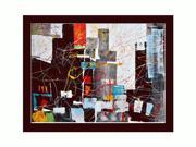 "NY 202 with 2 3/8"" wood frame with black finish. 36"" X 48"" (interior dimensions) - Hand Painted Framed Canvas Art"