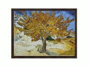 """Art Reproduction Oil Painting - Van Gogh Paintings: The Mulberry Tree with Grazed Ebony - Distressed Black Finish - 34"""" X 44"""" - Hand Painted Framed Canvas Art"""