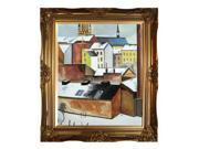 """Art Reproduction Oil Painting - The Church of St. Mary in Bonn in Snow with Victorian Gold Frame - Gold Finish - 28"""" X 32"""" - Hand Painted Framed Canvas Art"""