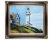 "Art Reproduction Oil Painting - Lighthouse at Two Lights with Corinthian Silver Frame - Black and Silver Finish - 29""  X  33"" - Hand Painted Framed Canvas Art"