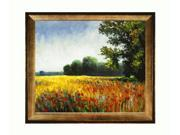 "Art Reproduction Oil Painting - Monet Paintings: Oat Fields with Athenian Gold Frame - Antique Gold Finish - Eco Friendly - 25"" X 29"" - Hand Painted Framed Canvas Art"