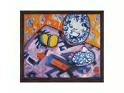 """Art Reproduction Oil Painting - Fauve Still Life with Copper Sweep - Dark wood frame with a distressed bronze finish. - 23.125"""" X 27.125"""" - Hand Painted Framed Canvas Art"""