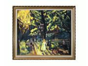 """Art Reproduction Oil Painting - Gramercy Park, 1920 with Filigree Frame - Gold Finish - 25"""" X 29"""" - Hand Painted Framed Canvas Art"""