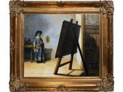 "Art Reproduction Oil Painting - Artist in His Studio with Renaissance Bronze Frame - Bronze Finish - 30"" X 34"" - Hand Painted Framed Canvas Art"
