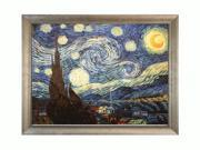"Art Reproduction Oil Painting - Van Gogh Paintings: Starry Night with Silver Scoop with Swirl Lip - Silver Frame with Champagne Highlights - 38.5"" X 50.5"" - Hand Painted Framed Canvas Art"