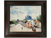 "Art Reproduction Oil Painting - Street in Moret (Porte de Bourgogne from across the Bridge) with Mediterranean Bronze Frame - Bronze Finish - 30"" X 34"" - Hand Painted Framed Canvas Art"
