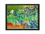 "Art Reproduction Oil Painting - Van Gogh Paintings: Irises with La Scala Frame - Black and Gold Finish - 39"" X 51"" - Hand Painted Framed Canvas Art"