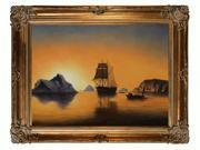 """Art Reproduction Oil Painting - Arctic Scene with Renaissance Bronze Frame - Bronze Finish - 40"""" X 50"""" - Hand Painted Framed Canvas Art"""