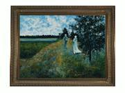 """Art Reproduction Oil Painting - Monet Paintings: The Promenade Near Argenteuil with Regal Champagne Frame - Dark Champagne Finish - 38.5"""" X 48.5"""" - Hand Painted Framed Canvas Art"""