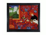 "Art Reproduction Oil Painting - Matisse Paintings: Armonia Rojo with Spaniard Black Wood Frame - 26"" X 30"" - Hand Painted Framed Canvas Art"