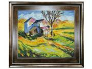 """Art Reproduction Oil Painting - House in a Landscape with Natural Creed Frame - Deep Natural Stained Wood - 29"""" X 33"""" - Hand Painted Framed Canvas Art"""