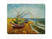Van Gogh Paintings: Boats At St. Marie's Gallery Wrap - Hand Painted Canvas Art