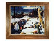 """Art Reproduction Oil Painting - Easter Snow with Vienna Wood Frame - Gold Leaf Finish - 27"""" X 31"""" - Hand Painted Framed Canvas Art"""