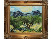 """Art Reproduction Oil Painting - Van Gogh Paintings: Olive Trees with the Alpilles in the Background with Renaissance Bronze Frame - Bronze Finish - 30"""" X 34"""" - Hand Painted Framed Canvas Art"""