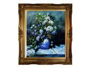 "Art Reproduction Oil Painting - Renoir Paintings: Grande Vase Di Fiori with Victorian Gold Frame - Gold Finish - 28"" X 32"" - Hand Painted Framed Canvas Art"