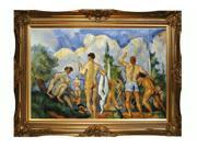 "Art Reproduction Oil Painting - Closeout Deals: Bathers (affordable line) with Victorian Gold Frame - Gold Finish - 32"" X 44"" - Hand Painted Framed Canvas Art"