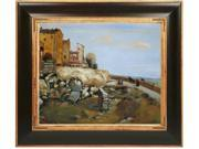 """Art Reproduction Oil Painting - Eze-Sur-Mer with Opulent Frame - Dark Stained Wood with Gold Trim - 29"""" X 33"""" - Hand Painted Framed Canvas Art"""