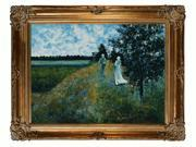 """Art Reproduction Oil Painting - Monet Paintings: The Promenade Near Argenteuil with Renaissance Bronze Frame - Bronze Finish - 40"""" X 50"""" - Hand Painted Framed Canvas Art"""