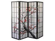 Plum Blossom 4-Panel Room Divider