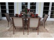 Chub Cay Patio 7 Piece Arm Chair and Slatted Table Set
