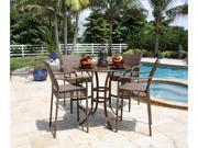 Grenada 5 Piece Slatted Pub Table and Barstools with Arms