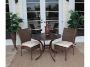 Grenada Patio 3 Piece Slatted and Side Chair Bistro Dining Set